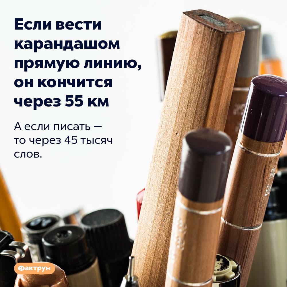 Если вести карандашом прямую линию, онкончится через 55км. А если писать — то через 45 тысяч слов.