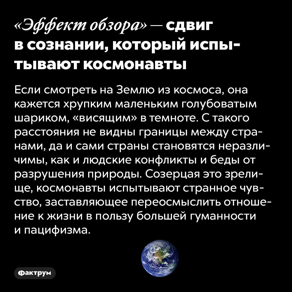 «Эффект обзора» — сдвиг всознании, который испытывают космонавты. Если смотреть на Землю из космоса, она кажется хрупким маленьким голубоватым шариком, «висящим» в темноте. С такого расстояния не видны границы между странами, да и сами страны становятся неразличимы, как и людские конфликты и беды от разрушения природы. Созерцая это зрелище, космонавты испытывают странное чувство, заставляющее переосмыслить отношение к жизни в пользу большей гуманности и пацифизма.  Термин был предложен в 1987 году Фрэнком Уайтом в книге «Эффект обзора: исследование космоса и человеческая эволюция». Считается, что лёгкое влияние этого эффекта люди испытывают, когда внимательно разглядывают детализированные изображения Земли, снятые из космоса.  Эффект обзора также пытаются вызвать устроители планетариев, особенно те, где показывают детям 3D-панорамы Солнечной системы, нашей галактики и открытого космоса.