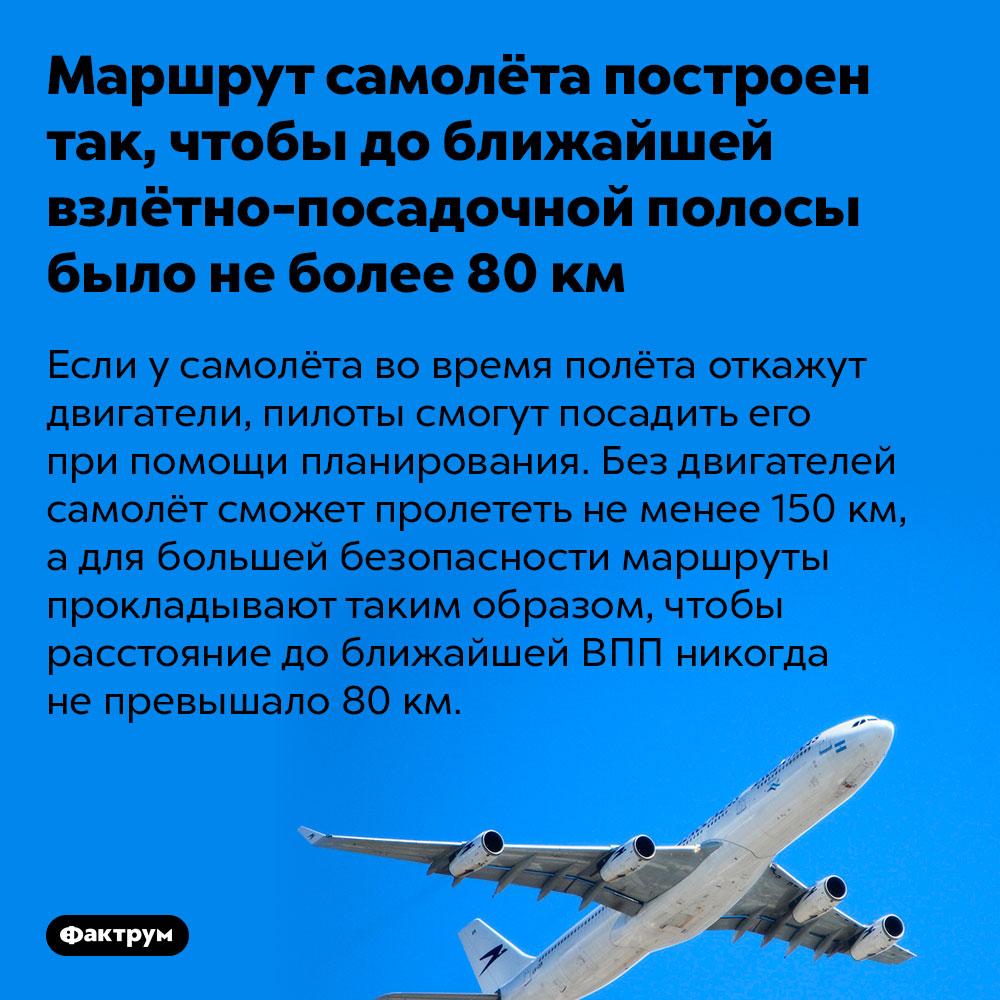 Маршрут самолёта построен так, чтобы доближайшей взлётно-посадочной полосы было неболее 80км. Если у самолёта во время полёта откажут двигатели, пилоты смогут посадить его при помощи планирования. Без двигателей самолёт сможет пролететь не менее 150 км, а для большей безопасности маршруты прокладывают таким образом, чтобы расстояние до ближайшей ВПП никогда не превышало 80 км.