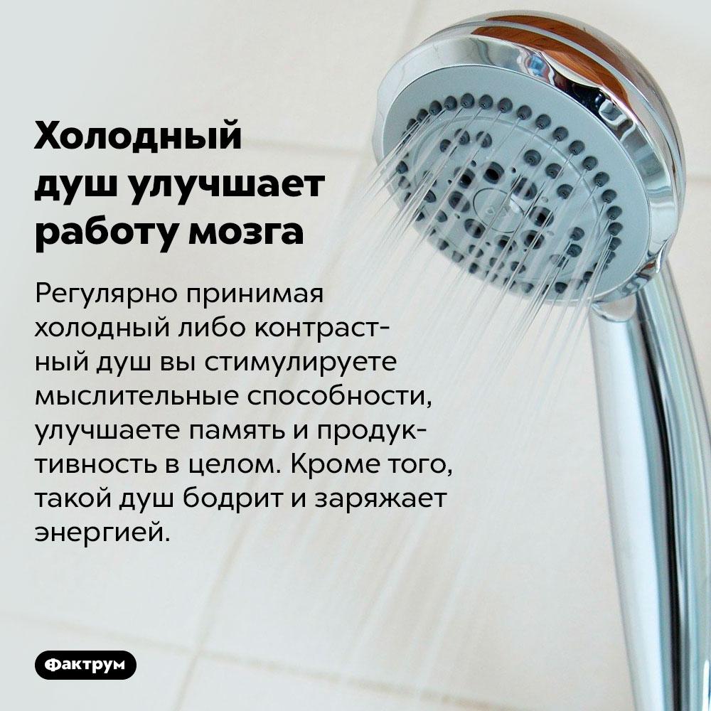 Холодный душ улучшает работу мозга. Регулярно принимая холодный либо контрастный душ вы стимулируете мыслительные способности, улучшаете память и продуктивность в целом. Кроме того, такой душ бодрит и заряжает энергией.