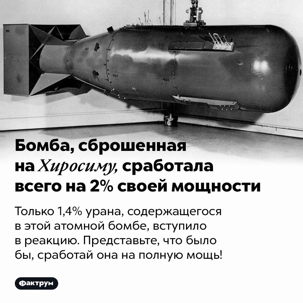Бомба, сброшенная наХиросиму, сработала всего на2%своей мощности. Только 1,4% урана, содержащегося в этой атомной бомбе, вступило в реакцию. Представьте, что было бы, сработай она на полную мощь!