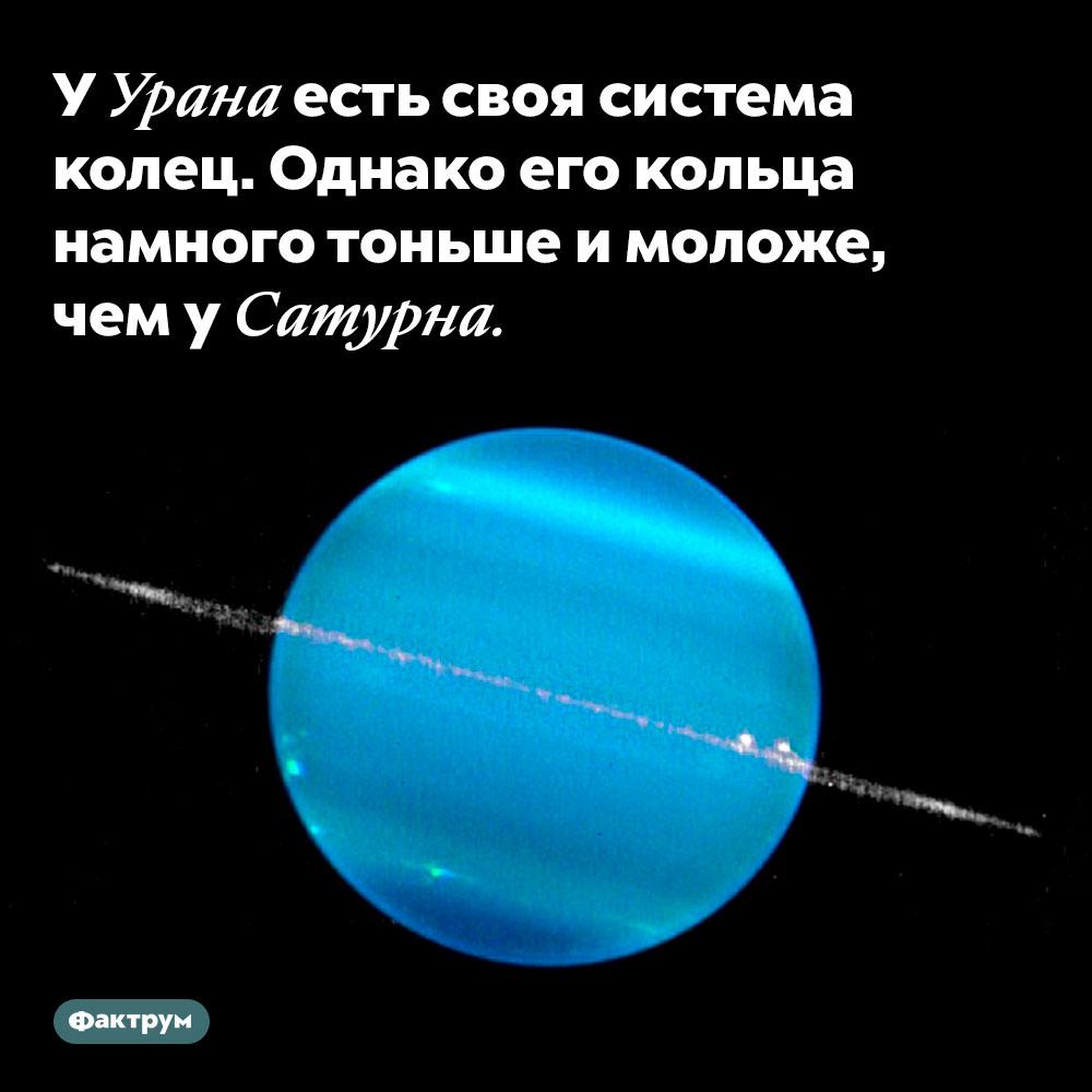УУрана есть своя система колец. Однако его кольца намного тоньше имоложе, чем уСатурна.