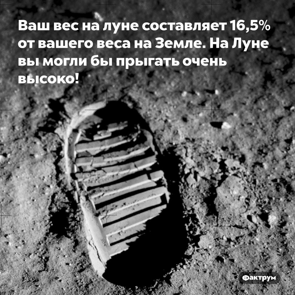 Ваш вес наЛуне составляет 16,5%отвашего веса наЗемле. На Луне вы могли бы прыгать очень высоко!