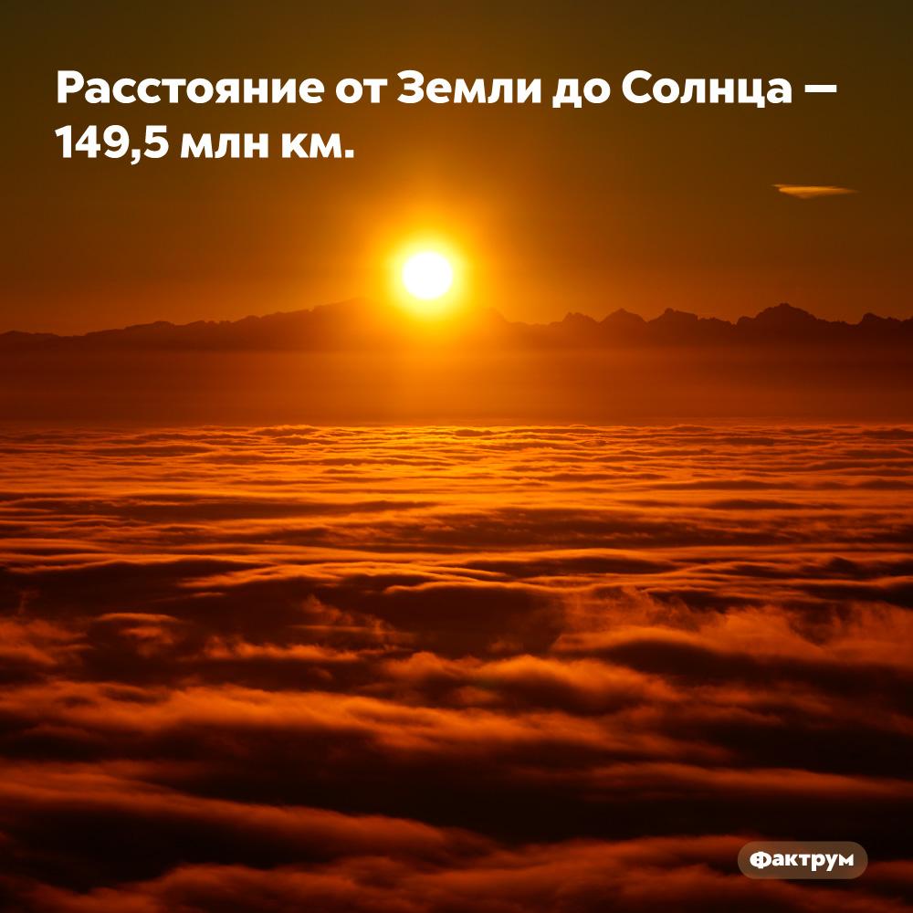 Расстояние отЗемли доСолнца — 149,5млнкм.