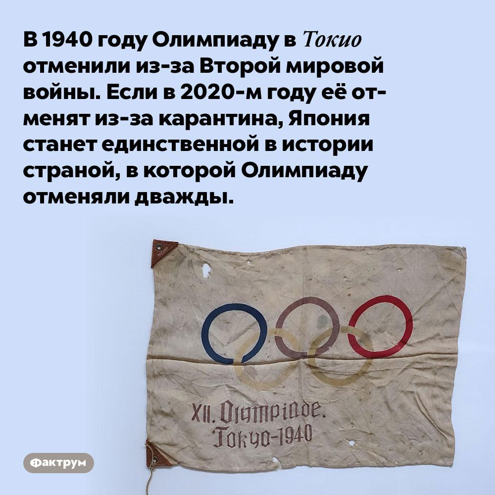 В1940 году Олимпиаду вТокио отменили из-за Второй мировой войны. Если в 2020-м году её отменят из-за карантина, Япония станет единственной в истории страной, в которой Олимпиаду отменяли дважды.
