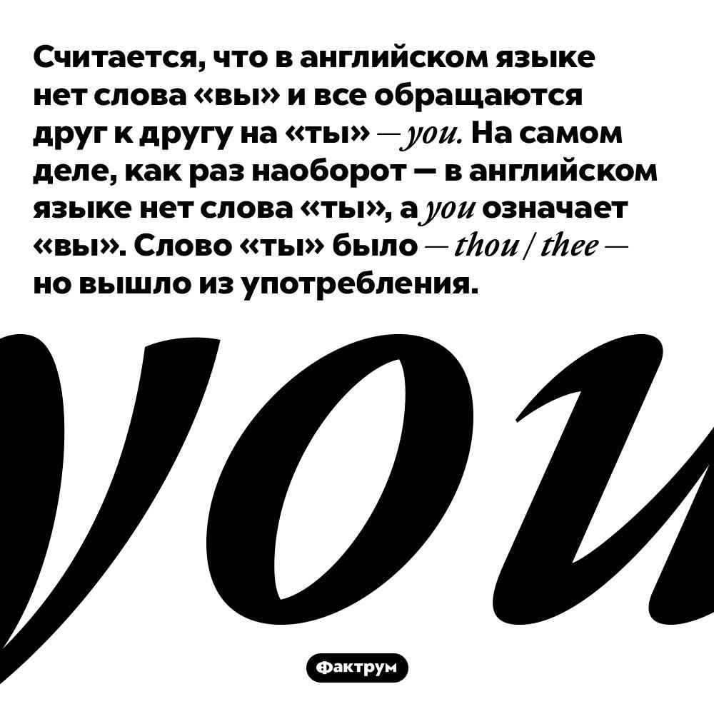 Считается, что в английском языке нет слова «вы» и все обращаются друг к другу на «ты» — you. На самом деле, как раз наоборот — в английском языке нет слова «ты», а you означает «вы». Слово «ты» было — thou / thee — но вышло из употребления.