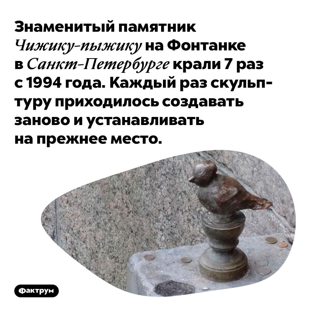Знаменитый памятник Чижику-пыжику на Фонтанке в Санкт-Петербурге крали 7 раз с 1994 года. Каждый раз скульптуру приходилось создавать заново и устанавливать на прежнее место.