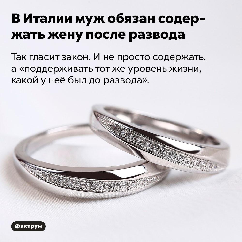 ВИталии муж обязан содержать жену после развода. Так гласит закон. И не просто содержать, а «поддерживать тот же уровень жизни, какой у неё был до развода».