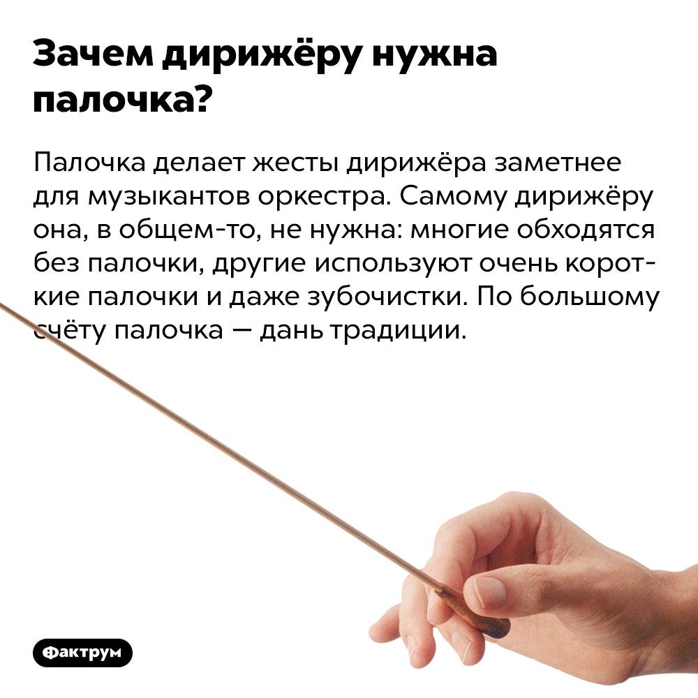 Зачем дирижёру нужна палочка. Палочка делает жесты дирижёра заметнее для музыкантов оркестра. Самому дирижёру она, в общем-то, не нужна: многие обходятся без палочки, другие используют очень короткие палочки и даже зубочистки. По большому счёту палочка — дань традиции.