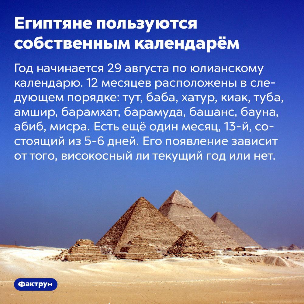 Египтяне пользуются собственным календарём. Год начинается 29 августа по юлианскому календарю. 12 месяцев расположены в следующем порядке: тут, баба, хатур, киак, туба, амшир, барамхат, барамуда, башанс, бауна, абиб, мисра. Есть ещё один месяц, 13-й, состоящий из 5-6 дней. Его появление зависит от того, високосный ли текущий год или нет.