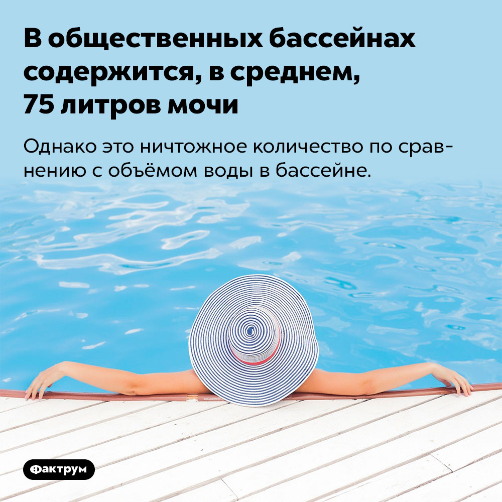 В общественных бассейнах содержится, в среднем, 75 литров мочи. Однако это ничтожное количество по сравнению с объёмом воды в бассейне.
