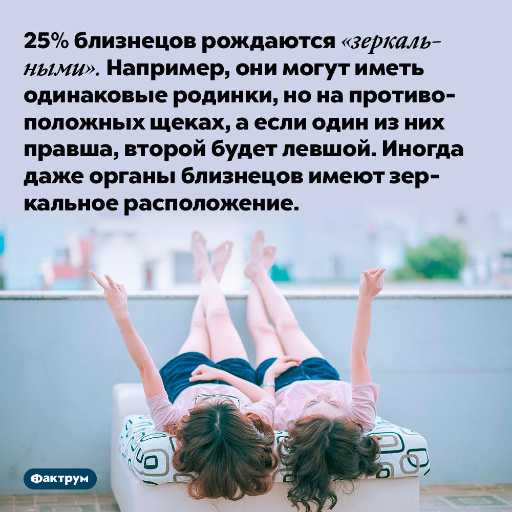 25% близнецов рождаются «зеркальными». Например, они могут иметь одинаковые родинки, но на противоположных щеках, а если один из них правша, второй будет левшой. Иногда даже органы близнецов имеют зеркальное расположение.