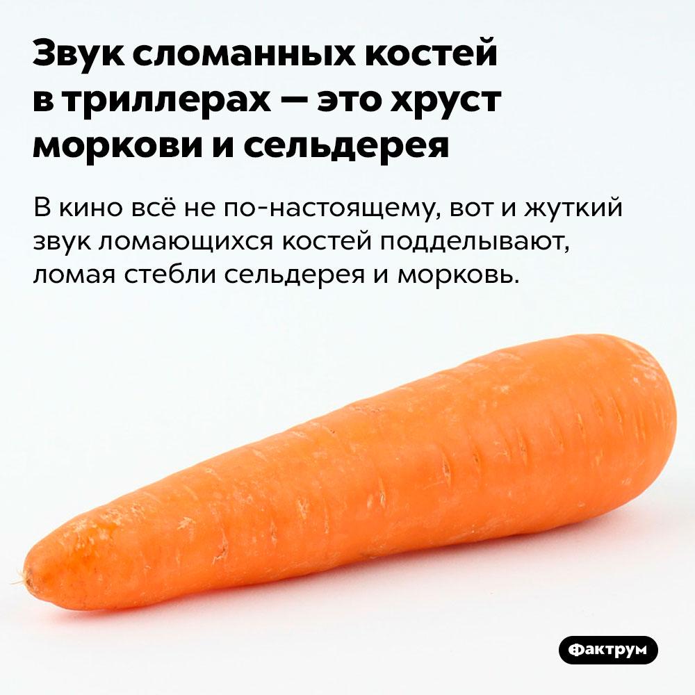 Звук сломанных костей в триллерах — это хруст моркови и сельдерея. В кино всё не по-настоящему, вот и жуткий звук ломающихся костей подделывают, ломая стебли сельдерея и морковь.