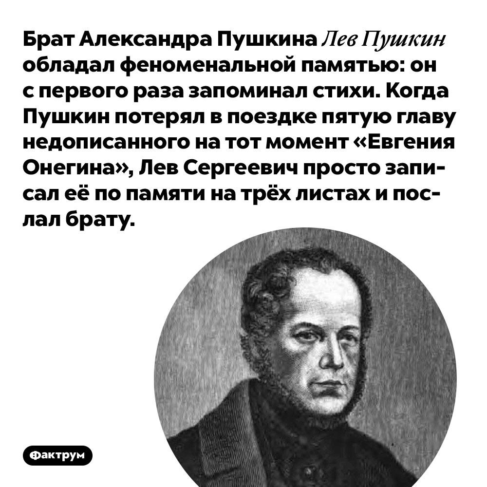 Брат Александра Пушкина Лев Пушкин обладал феноменальной памятью. Он с первого раза запоминал стихи. Когда Пушкин потерял в поездке пятую главу недописанного на тот момент «Евгения Онегина», Лев Сергеевич просто записал её по памяти на трёх листах и послал брату.