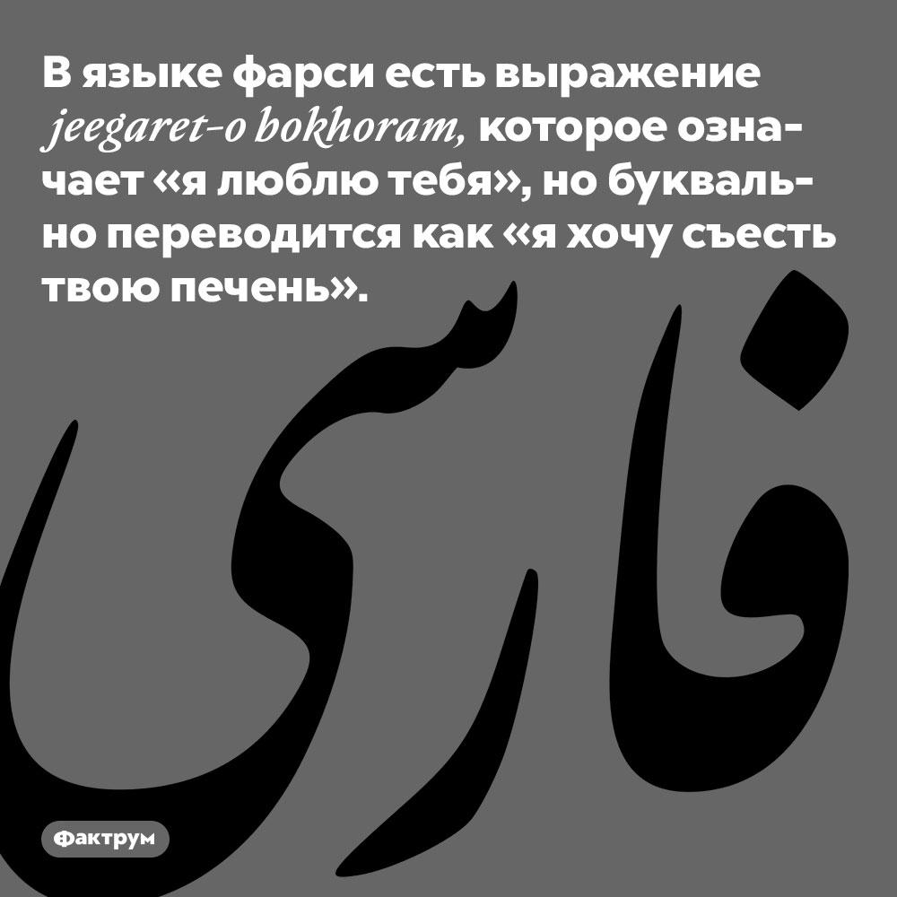 В языке фарси есть выражение jeegaret-o bokhoram. Которое означает «я люблю тебя», но буквально переводится как «я хочу съесть твою печень».