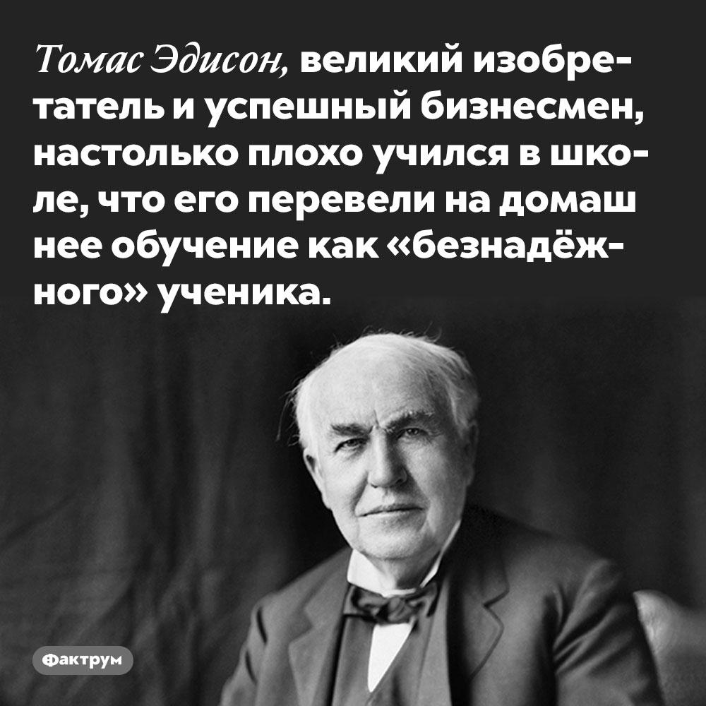 Томас Эдисон, великий изобретатель иуспешный бизнесмен, плохо учился вшколе. Причём настолько плохо, что его перевели на домашнее обучение как «безнадёжного» ученика.