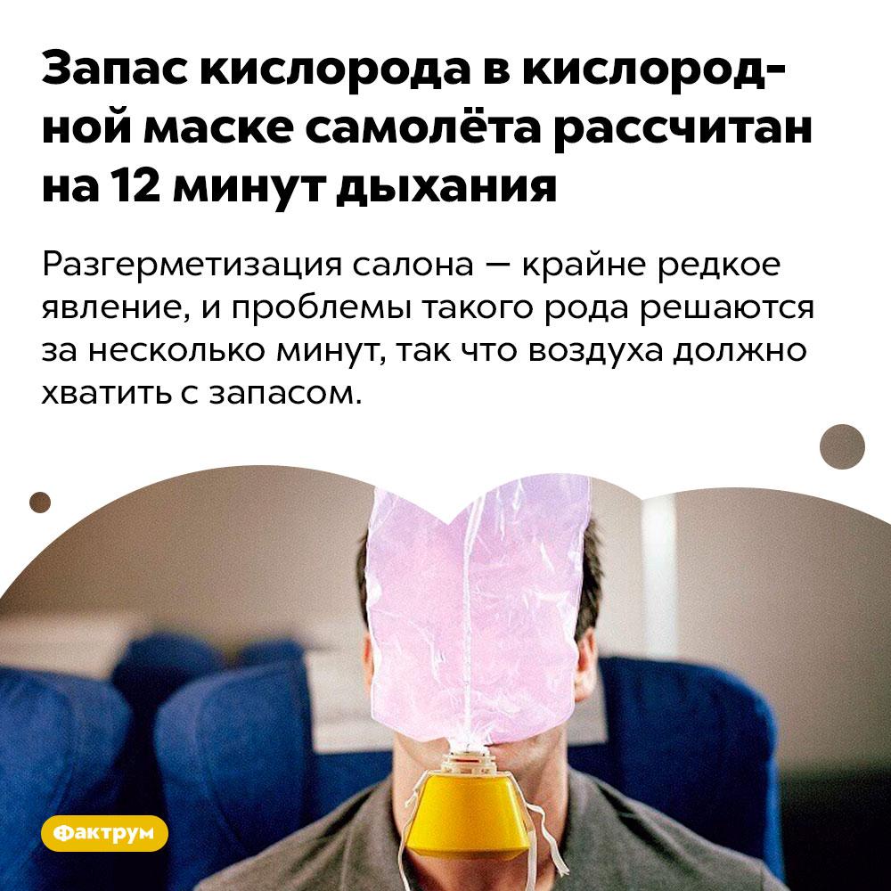 Запас кислорода вкислородной маске самолёта рассчитан на12минут дыхания. Разгерметизация салона — крайне редкое явление, и проблемы такого рода решаются за несколько минут, так что воздуха должно хватить с запасом.