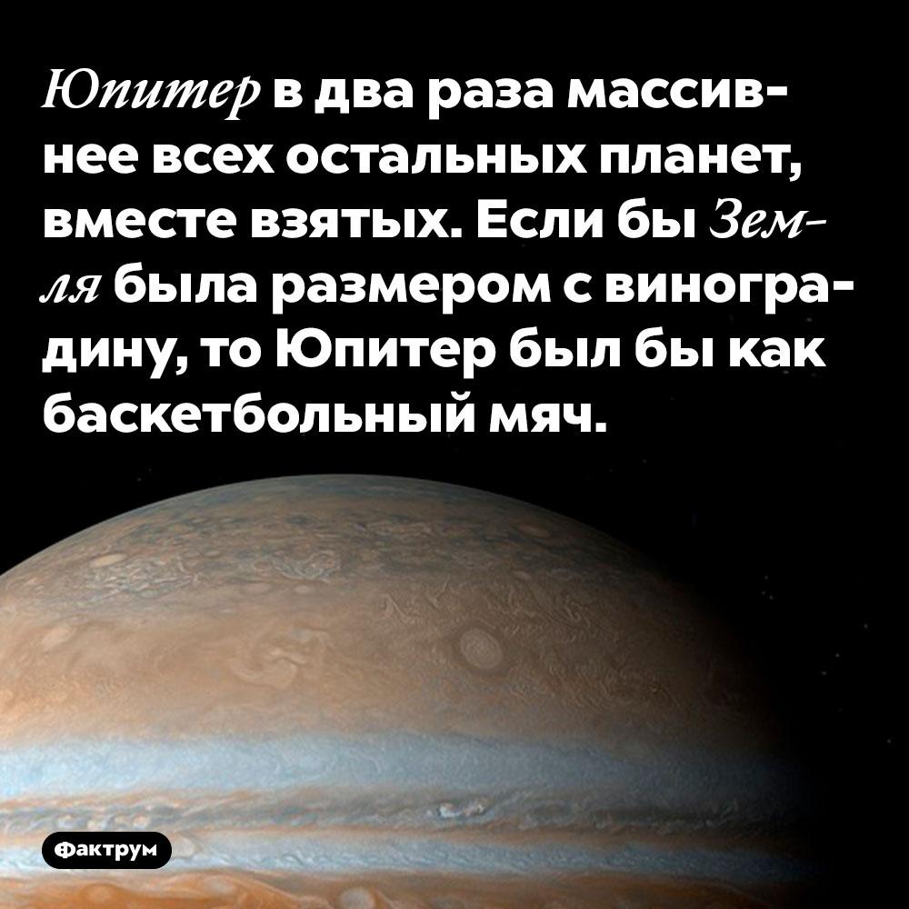 Юпитер в два раза массивнее всех остальных планет, вместе взятых. Если бы Земля была размером с виноградину, то Юпитер был бы как баскетбольный мяч.