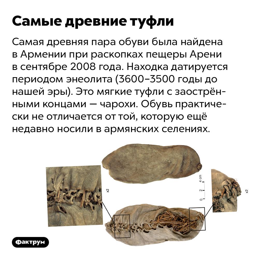Самые древние туфли. Самая древняя пара обуви была найдена в Армении при раскопках пещеры Арени в сентябре 2008 года. Находка датируется периодом энеолита (3600–3500 годы до нашей эры). Это мягкие туфли с заострёнными концами — чарохи. Обувь практически не отличается от той, которую ещё недавно носили в армянских селениях.