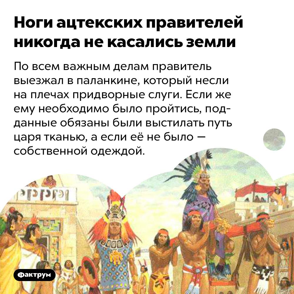 Ноги ацтекских правителей никогда некасались земли. По всем важным делам правитель выезжал в паланкине, который несли на плечах придворные слуги. Если же ему необходимо было пройтись, подданные обязаны были выстилать путь царя тканью, а если её не было — собственной одеждой.