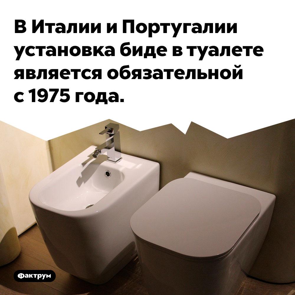 В Италии и Португалии установка биде в туалете является обязательной с 1975 года.