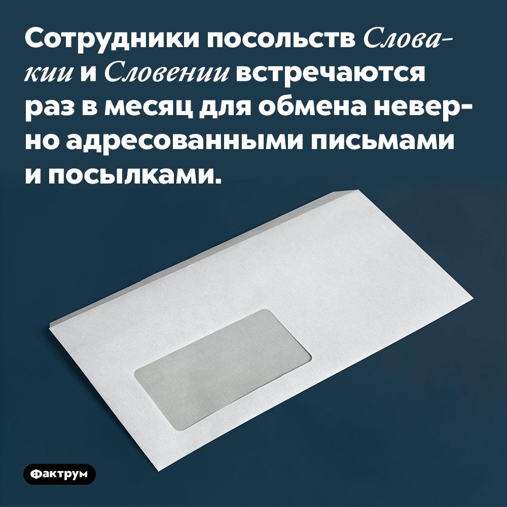 Сотрудники посольств Словакии и Словении встречаются раз в месяц для обмена неверно адресованными письмами и посылками.