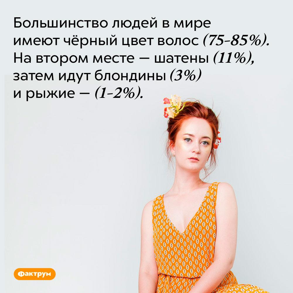 Большинство людей в мире имеют чёрный цвет волос (75-85%). На втором месте — шатены (11%), затем идут блондины (3%) и рыжие — (1-2%).