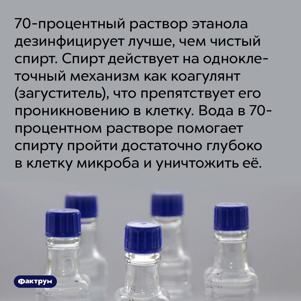 70-процентный раствор этанола дезинфицирует лучше, чем чистый спирт. Спирт действует на одноклеточный механизм как коагулянт (загуститель), что препятствует его проникновению в клетку. Вода в 70-процентном растворе помогает спирту пройти достаточно глубоко в клетку микроба и уничтожить её.