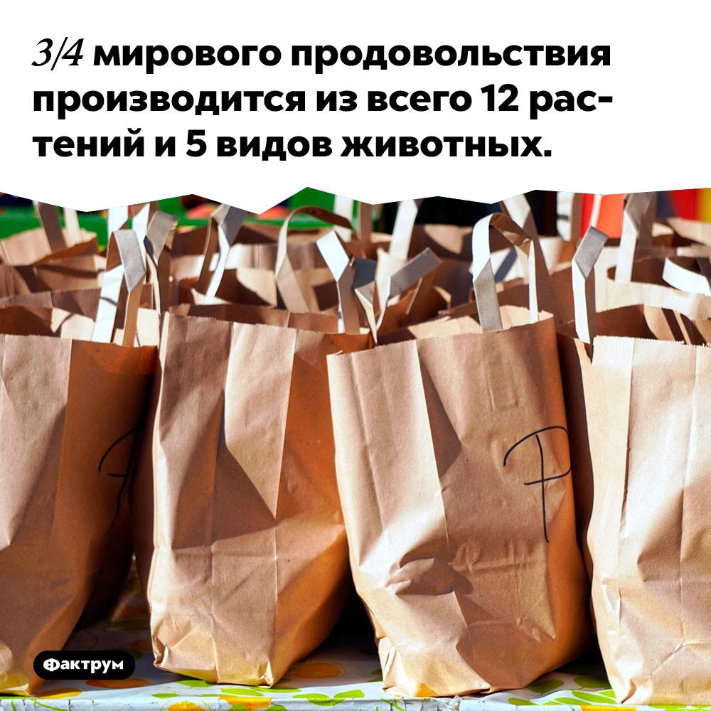3/4 мирового продовольствия производится из всего 12 растений и 5 видов животных.