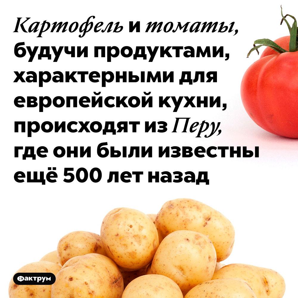 Картофель и томаты, будучи продуктами, характерными для европейской кухни, происходят из Перу, где они были известны ещё 500 лет назад.