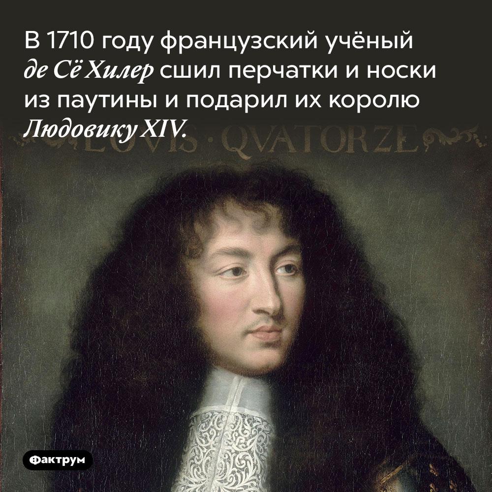 В 1710 году французский учёный де Сё Хилер сшил перчатки и носки из паутины. И подарил их королю Людовику XIV, главному моднику Франции в то время.