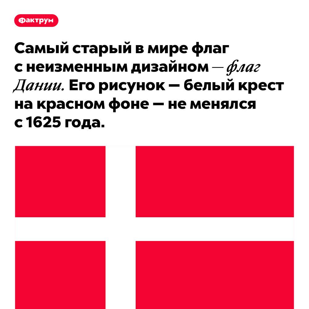 Самый старый в мире флаг с неизменным дизайном — флаг Дании. Его рисунок — белый крест на красном фоне — не менялся с 1625 года.