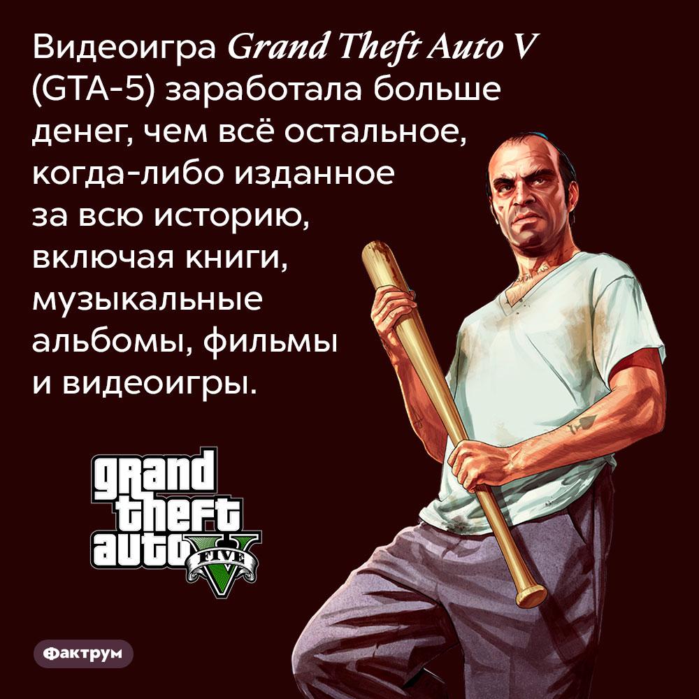 Видеоигра Grand Theft Auto V (GTA-5) заработала больше денег, чем всё остальное, когда-либо изданное за всю историю, включая книги, музыкальные альбомы, фильмы и видеоигры.
