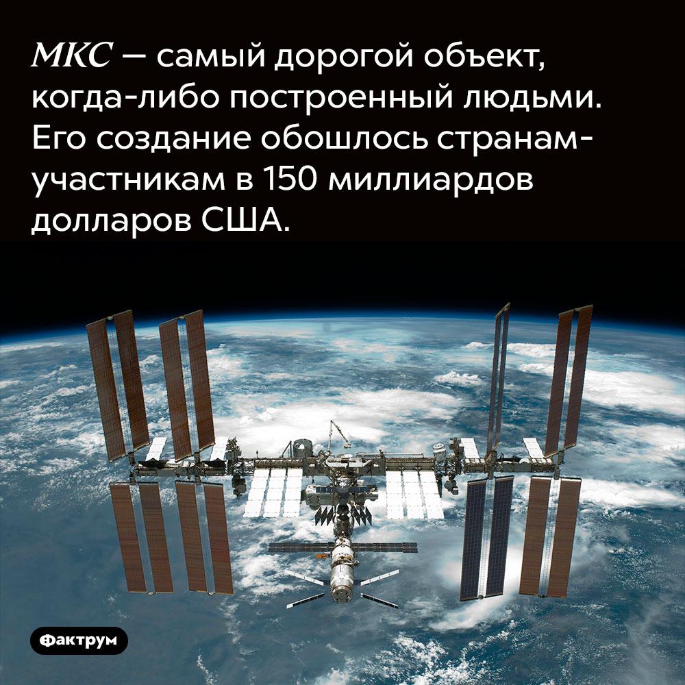 МКС — самый дорогой объект, когда-либо построенный людьми. Его создание обошлось странам-участникам в 150 миллиардов долларов США.