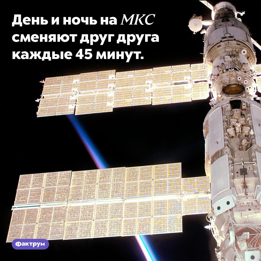 День и ночь на МКС сменяют друг друга каждые 45 минут.