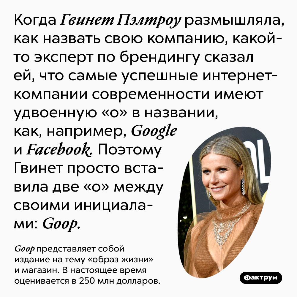 Когда Гвинет Пэлтроу размышляла, как назвать свою компанию, какой-то эксперт по брендингу сказал ей, что самые успешные интернет-компании современности имеют удвоенную «о» в названии, как, например, Google и Facebook. Поэтому Гвинет просто вставила две «о» между своими инициалами: Goop.