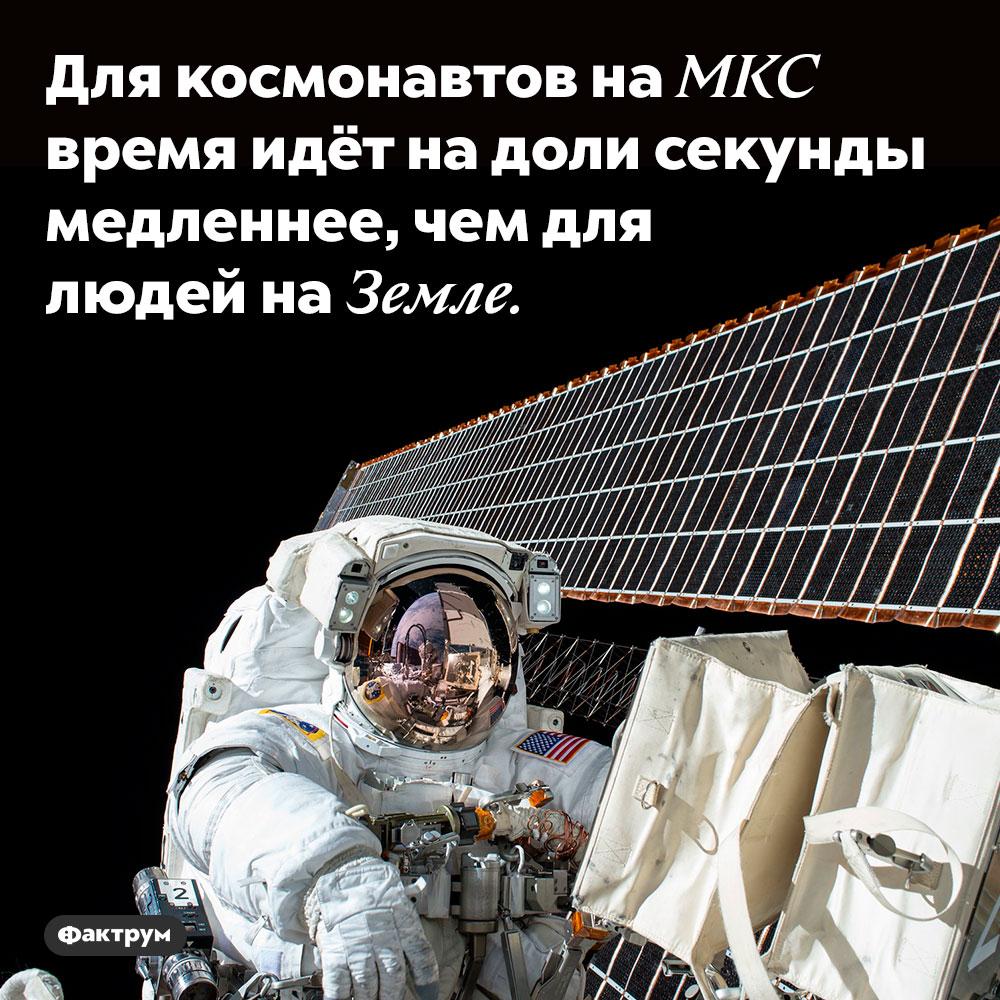 Для космонавтов на МКС время идёт на доли секунды медленнее, чем для людей на Земле.