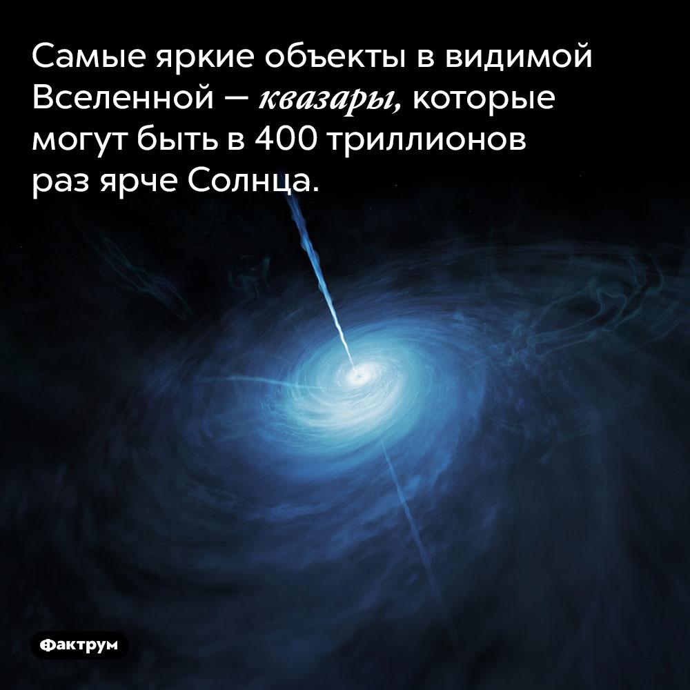 Самые яркие объекты в видимой Вселенной — квазары, которые могут быть в 400 триллионов раз ярче Солнца.