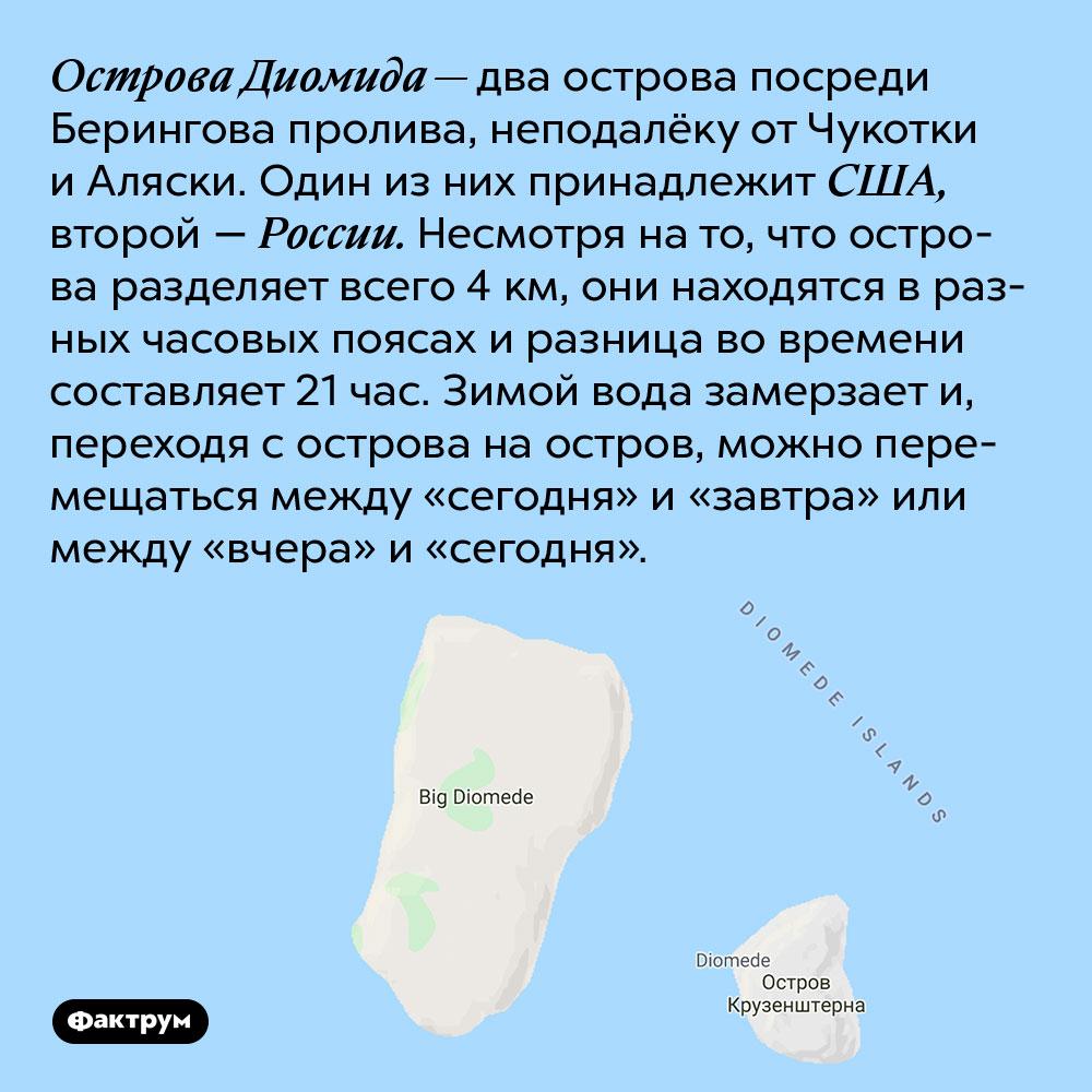 Острова Диомида — два острова посреди Берингова пролива, неподалёку от Чукотки и Аляски. Один из них принадлежит США, второй — России. Несмотря на то, что острова разделяет всего 4 км, они находятся в разных часовых поясах и разница во времени составляет 21 час. Зимой вода замерзает и, переходя с острова на остров, можно перемещаться между «сегодня» и «завтра» или между «вчера» и «сегодня».