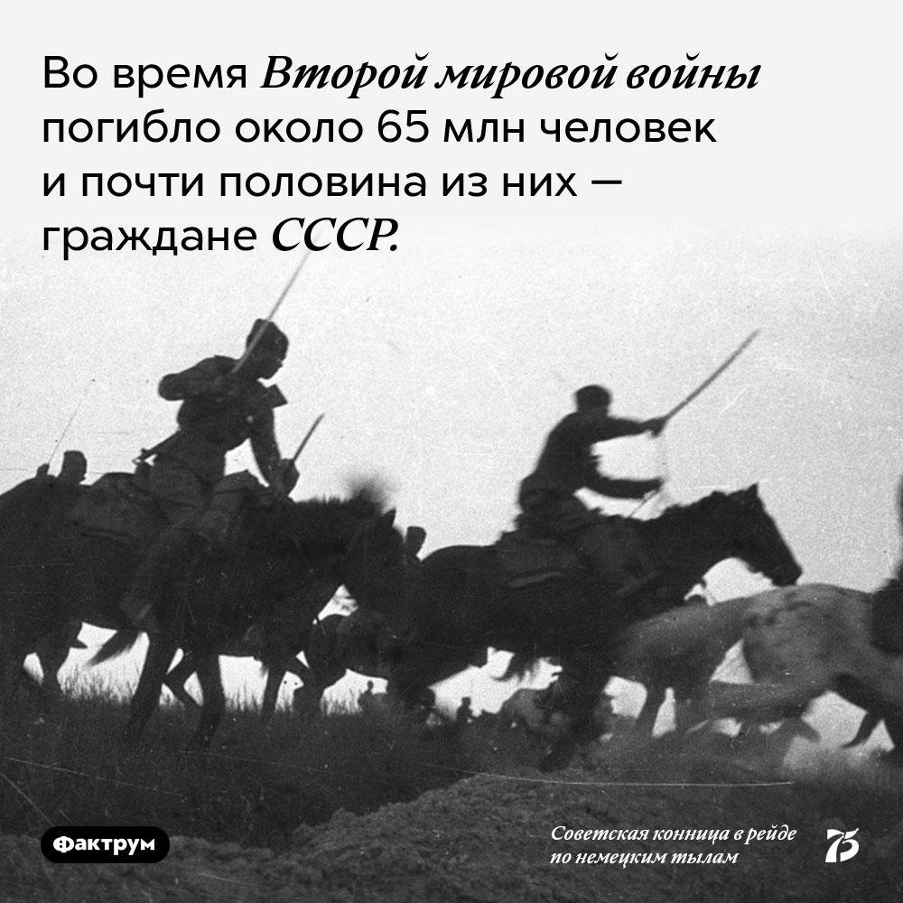 Во время второй мировой войны погибло около 65 млн человек и почти половина из них — граждане СССР.