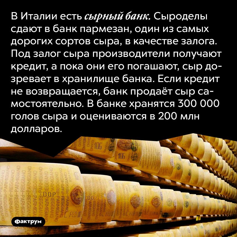 В Италии есть сырный банк. Сыроделы сдают в банк пармезан, один из самых дорогих сортов сыра, в качестве залога. Под залог сыра производители получают кредит, а пока они его погашают, сыр дозревает в хранилище банка. Если кредит не возвращается, банк продаёт сыр самостоятельно. В банке хранятся 300 000 голов сыра и оцениваются в 200 млн долларов.