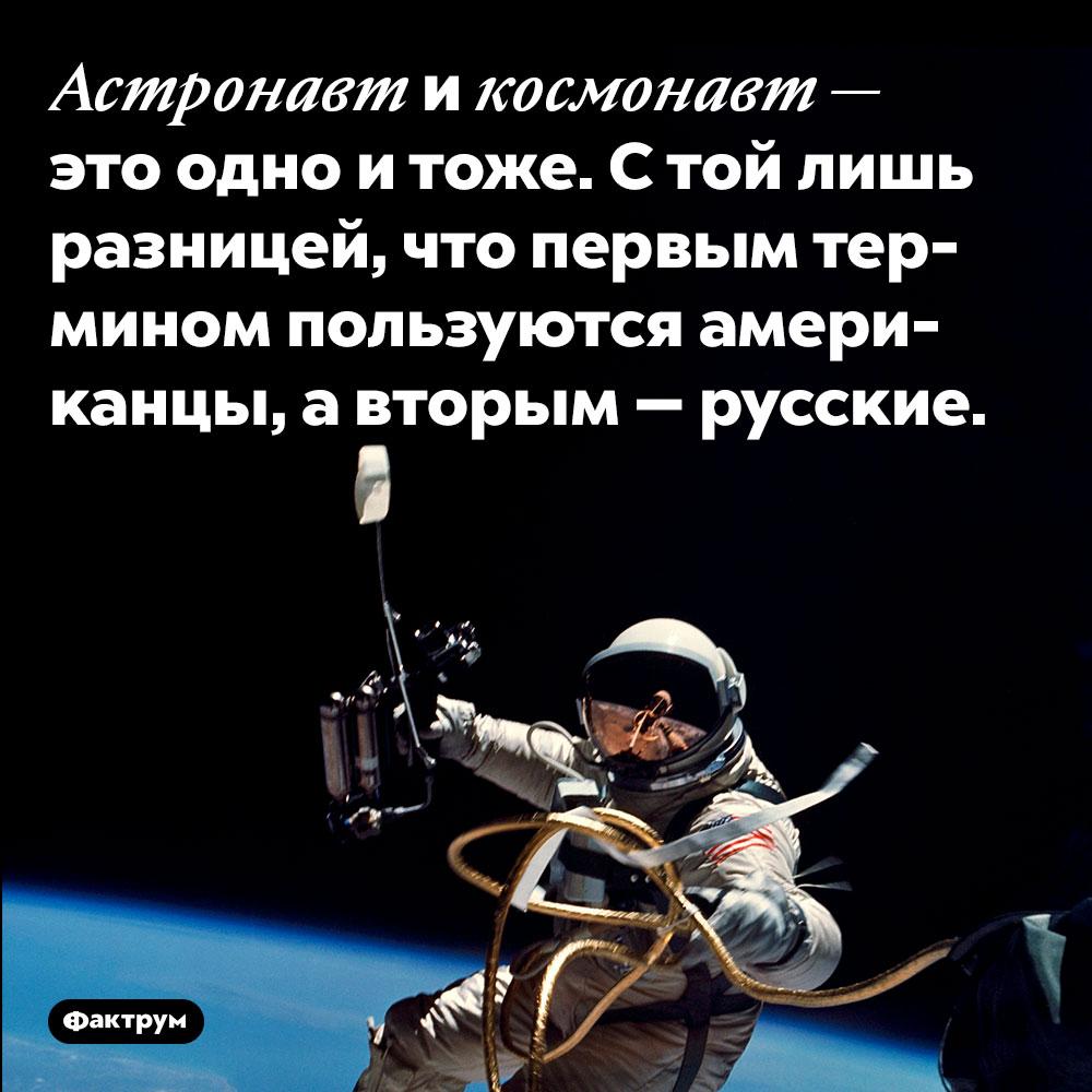 Астронавт и космонавт — это одно и тоже. С той лишь разницей, что первым термином пользуются американцы, а вторым — русские.