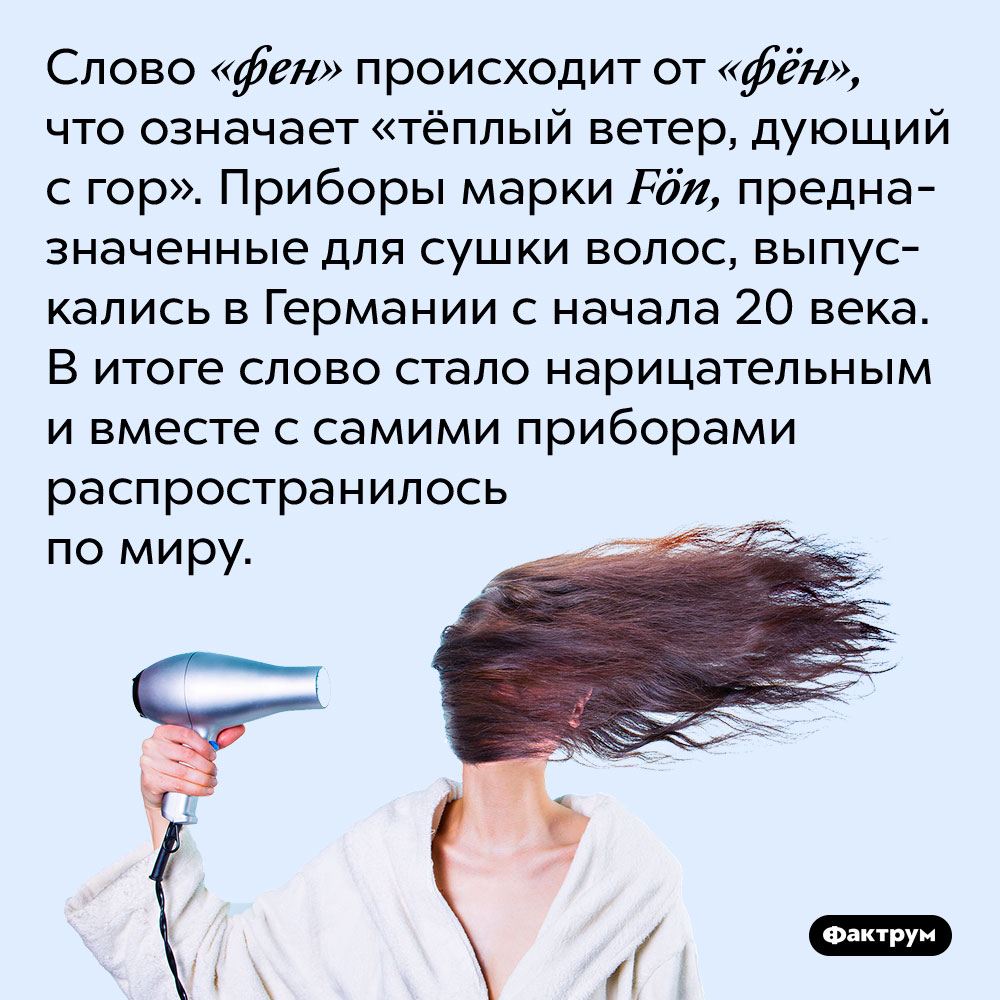 Слово «фен» происходит от «фён», что означает «тёплый ветер, дующий с гор». Приборы марки Fön, предназначенные для сушки волос, выпускались в Германии с начала 20 века. В итоге слово стало нарицательным и вместе с самими приборами распространилось по миру.