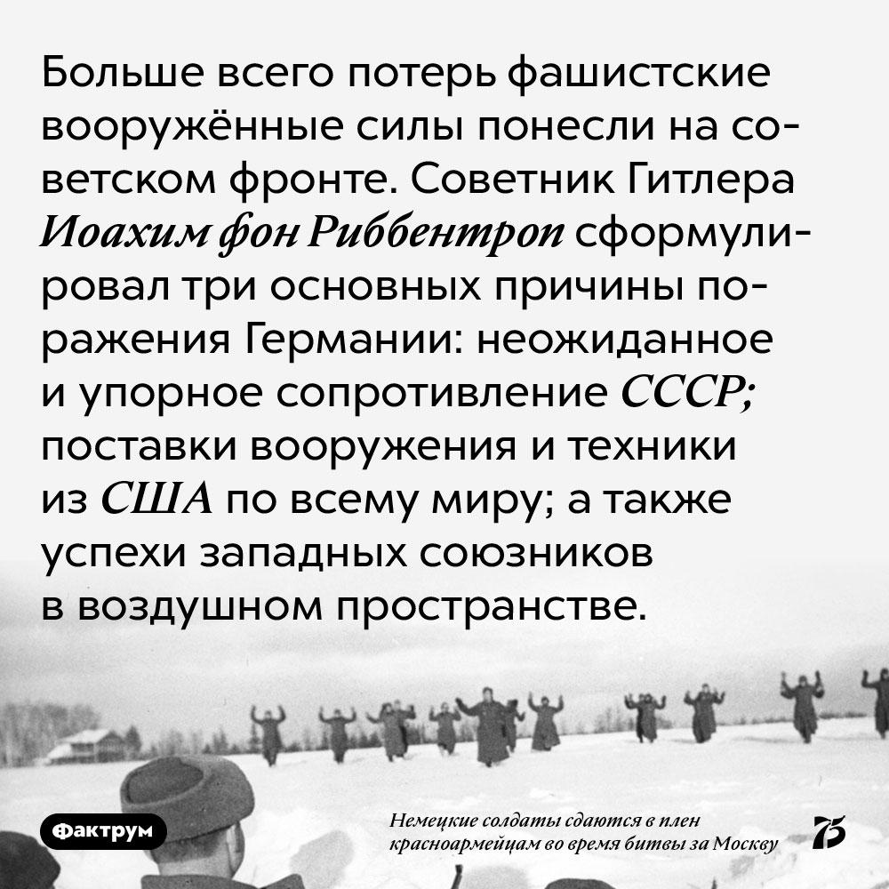 Больше всего потерь фашистские вооружённые силы понесли на советском фронте. Советник Гитлера Иоахим фон Риббентроп сформулировал три основных причины поражения Германии: неожиданное и упорное сопротивление СССР; поставки вооружения и техники из США по всему миру; а также успехи западных союзников в воздушном пространстве.