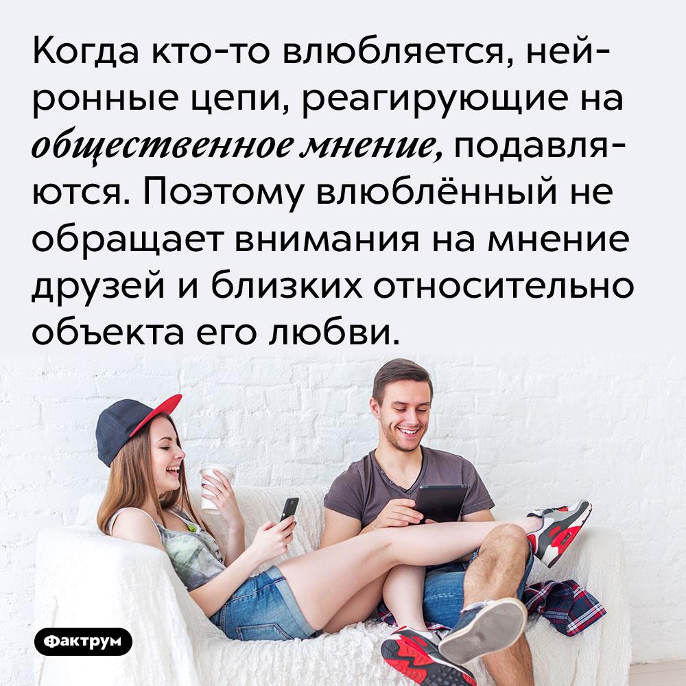 Когда кто-то влюбляется, нейронные цепи, реагирующие на общественное мнение, подавляются. Поэтому влюблённый не обращает внимания на мнение друзей и близких относительно объекта его любви.