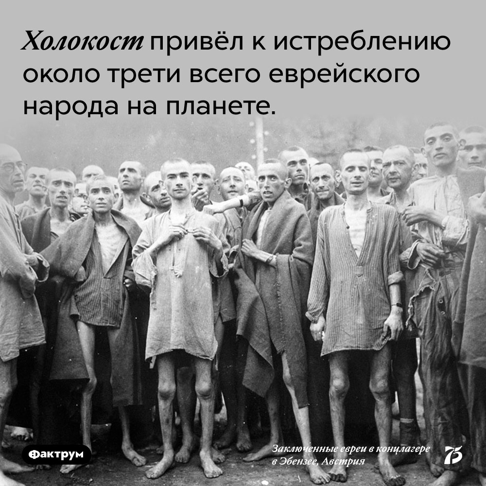 Холокост привёл к истреблению около трети всего еврейского народа на планете.