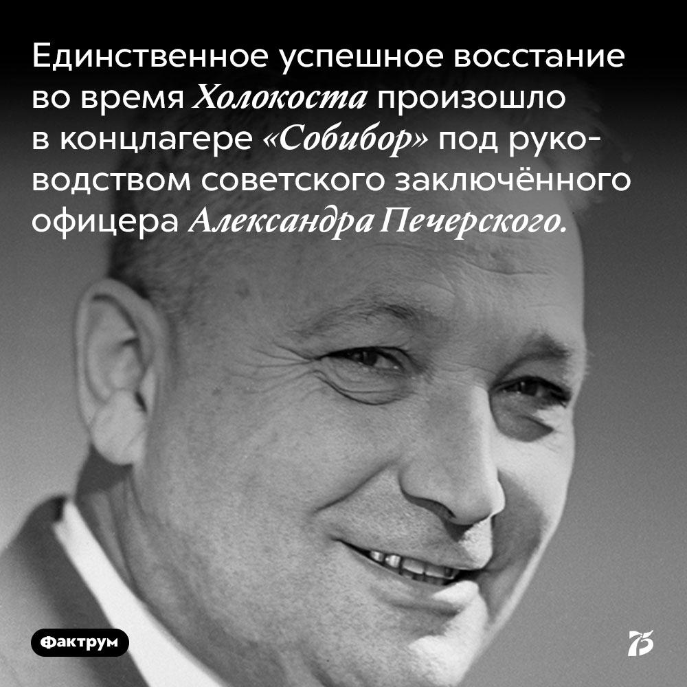 Единственное успешное восстание во время Холокоста произошло в концлагере «Собибор» под руководством советского заключённого офицера Александра Печерского.