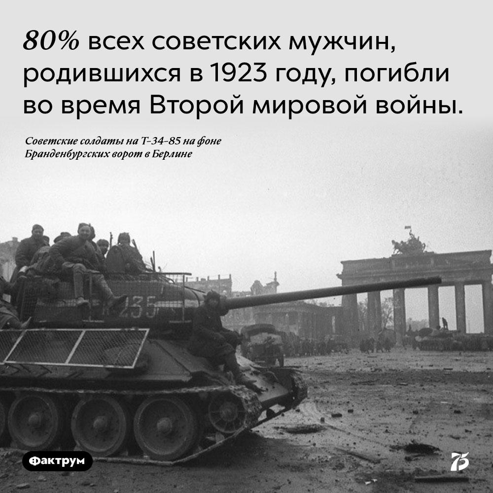 80% всех советских мужчин, родившихся в 1923 году, погибли во время Второй мировой войны.