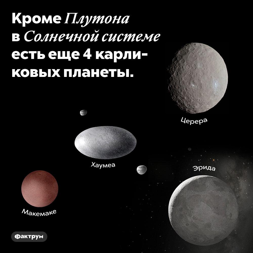 Кроме Плутона в Солнечной системе есть еще 4 карликовых планеты.