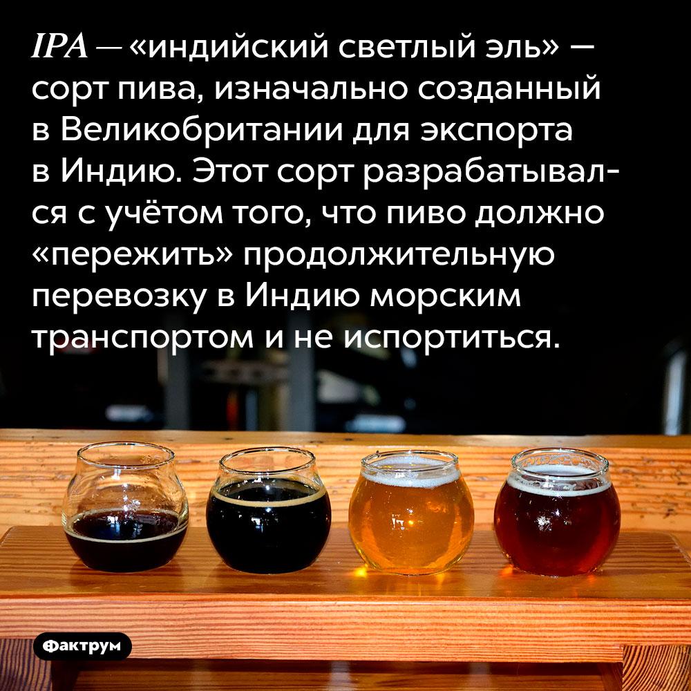 IPA — «индийский светлый эль» — сорт пива, изначально созданный в Великобритании для экспорта в Индию. Этот сорт разрабатывался с учётом того, что пиво должно «пережить» продолжительную перевозку в Индию морским транспортом и не испортиться.